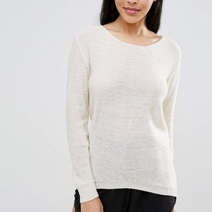 Asos Cream Bow Back Lace Detail Sweater